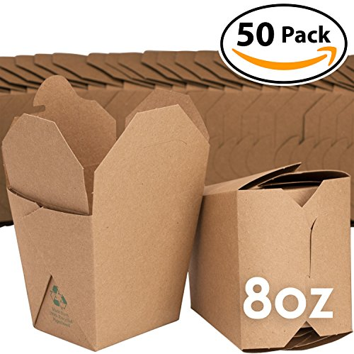 Microwavable Brown Chinese 8 oz Take Out Boxes. 50 Pack by Avant Grub. Stackable Pails Are Recyclable. Ideal Leak And Grease Resistant Pint Size To Go Container For Restaurants and Food Service.