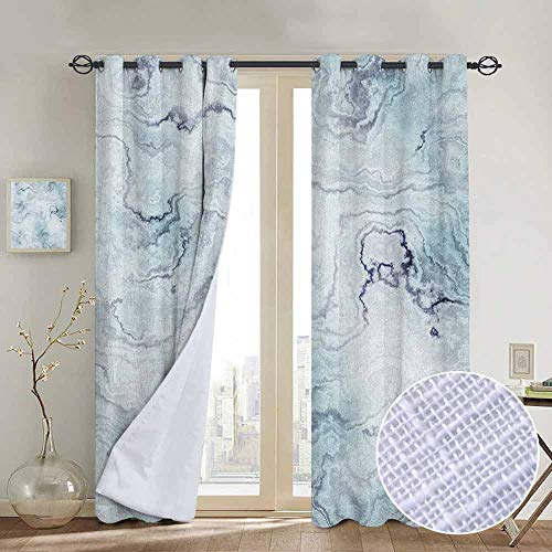(NUOMANAN Decorative Curtains for Living Room Marble,Soft Pastel Toned Abstract Hazy Wavy Pattern with Ottoman Influences Image, Pale Blue Grey Mint,Blackout Draperies for Bedroom 54