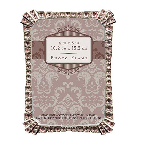 - Enchante Accessories Picture Frame Pink Chrystal Rhinestone Polished Silver Finish Metal 4 by 6