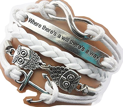 Ac Union ACUNIONTM Handmade Infinity Where There's a Will There's a Way Anchor Owls Charm Friendship Gift Leather Bracelet
