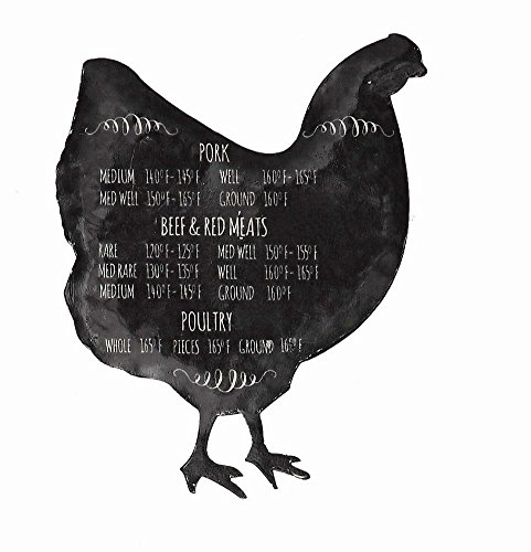 Chicken Refrigerator Magnets (Black Chicken Magnet with Food Safe Temperature Notes)