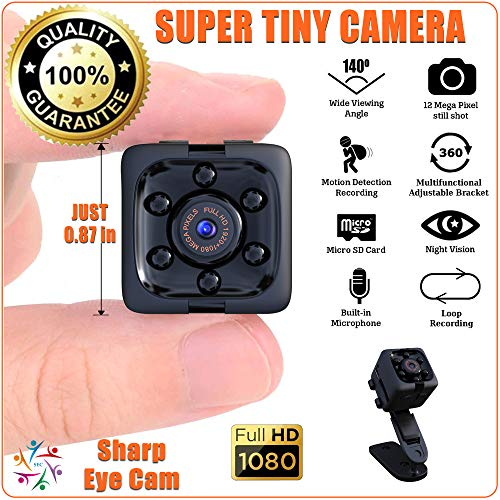 SharpEyeCam Super Tiny Hidden Mini Action Sport Camera. Cop Cam. Wireless, Just 1″ Cubed, 1/2 Ounce. Full HD Video 1920×1080, Audio, Night Vision, Motion Sensor, Loop Recording, with Card Reader