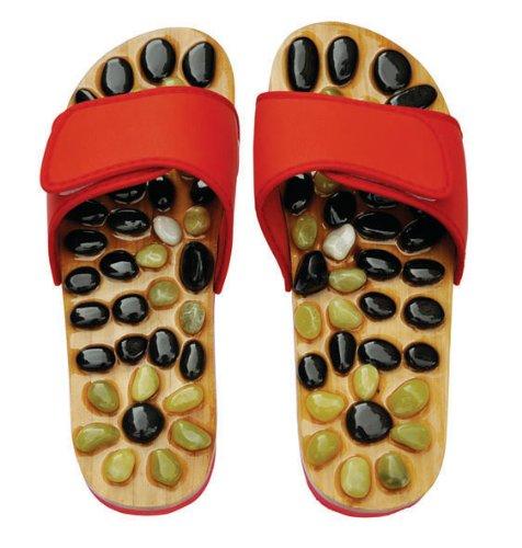 Sandales Réflexologie - Massage aux pierres naturelles chaussures et sandales (7, Rouge)