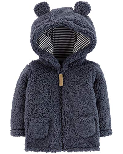 (Carter's Baby Boys' Hooded Sherpa Jacket,Blue,18 Months)