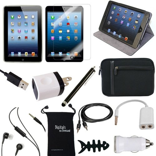 UPC 738435745554, DigitalsOnDemand Leather Hard Case with Screen Protector, USB Cables and Chargers (13-Item Bundle) for Apple iPad Mini / Mini 2 Retina / 3