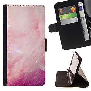 - Space - - Caso de la cubierta de la piel cierre magnšŠtico Cartera de cuero del tirš®n FOR HTC M8 One 2 Justin City