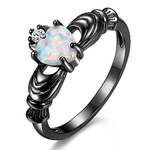 Yoursfs Women's Celtic Claddagh Rings Black Heart Traditional Friendship Ring Sizes 6-10… (Opal, 6)