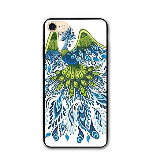Haixia iPhone 7/8 Shell 4.7 Inch Peacock Abstract Exotic Bird Figure with Stylized Long Tail and Wings Floral Swirled Leaves Blue Green