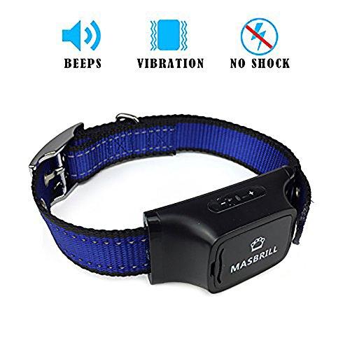 MASBRILL No Bark Dog Training Collar Anti Barking Device with 7 Levels Adjustable Sensitivity- Vibration (Shock) Beep Humane Dog Barking Control Collar For Dogs 20-150 lbs (vibration)