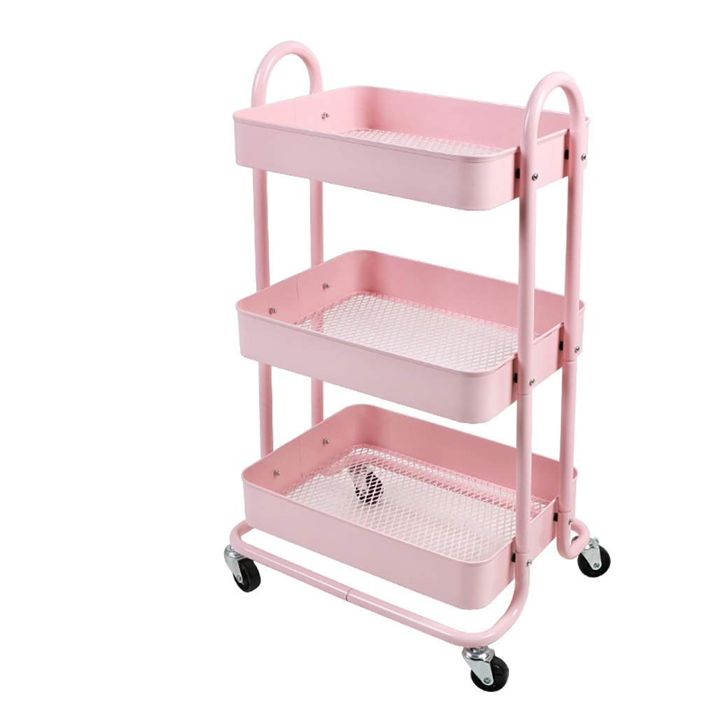 A Shelving Unit Kitchen,Three-Tier Storage Arrange and Organize The Assistants Easy to Move (color   C)