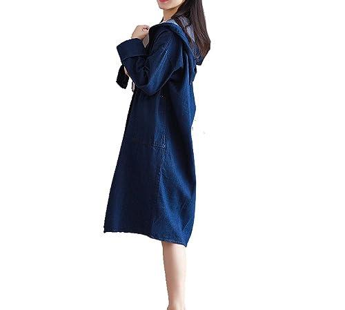 Chaquetas De Moda De Las Mujeres Capa Del Dril De Algodón De Manga Larga De Las Yardas Grandes Flojas Azul Multi-tamaño,Blue-l