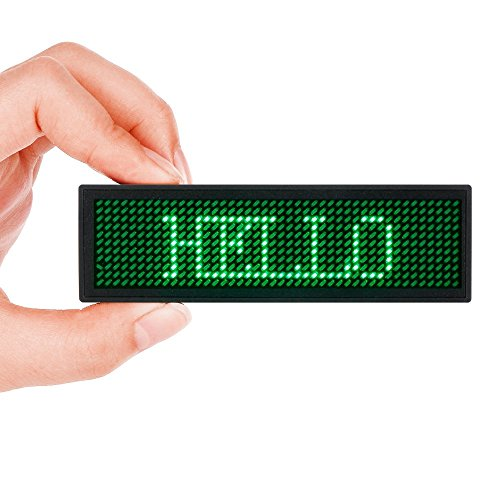 LED Name Tag, MECO Name Badge Rechargeable Pin Magenta Price Tag Reusable Business Card Screen with 4411 Pixels Programming Scrolling for Restaurant Shop Party Bar Exhibition(PC Only) - Green