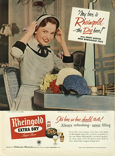 Miss Rheingold Beer Mary Austin ad 1953 trying on new hats Hat New Beer