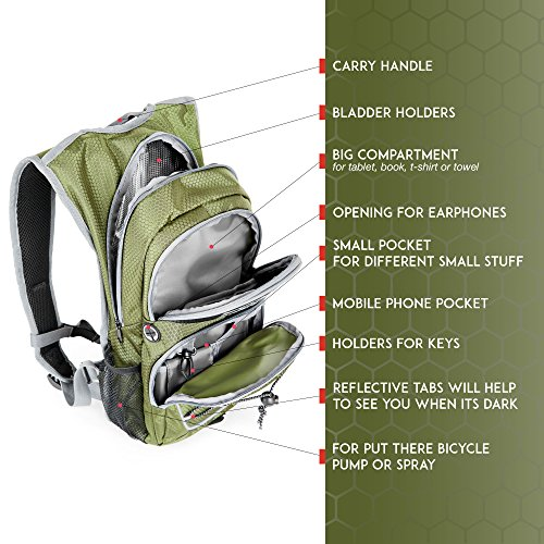Bloomfox Hydration Backpack with 2L Leak proof Water Bladder – Outdoor Pack with Insulation Layer Keeps Liquid cool Rucksack for Camping, Cycling, Running, Hiking Free Rain Cover included