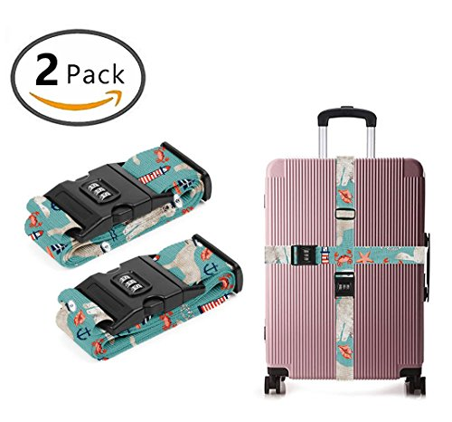 Delsey Black Camera Bag - YEAHSPACE Doodle Nautical Dog 2 Pack Luggage Straps Suitcase Adjustable Belt Travel Bag Accessories