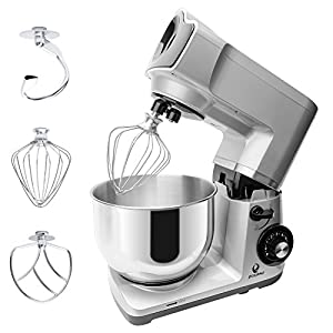 POSAME Stand Mixer 600W 6-Speed 5-Qt Tilt-Head Staving Varnish Kitchen Mixer with C-shaped Dough Hook, Y-Shape Flat Beater, Stainless Steel Wire Wipe Accessories (Silver Color)