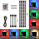 4pcs LED Strip Light,LED TV Background Lighting Kit,Multi-colour RGB 50cm LED Strip Light with DC 5V USB port and IR remote control for Television Computer Desktop Laptop Background Decorative