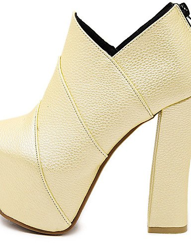 De 5 Golden Negro Zapatos 5 Oro Cn39 Xzz Redonda Tacones Tacón 7 Plataforma us6 Cn37 Stiletto Uk6 Blanco Vestido Eu39 us8 Golden Uk4 5 Botas Semicuero Eu37 Mujer Punta F5wZwq
