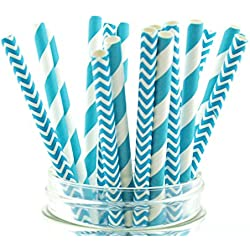 Blue Aqua Striped & Chevron Straws, Paper Drinking Straws, Dessert Table Wedding Party Straws (50 Pack) - Teal Aqua Blue Striped & Chevron Straws