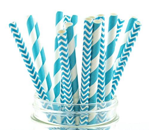 Blue Aqua Striped & Chevron Straws, Paper Drinking Straws, Dessert Table Wedding Party Straws (50 Pack) - Teal Aqua Blue Striped & Chevron Straws