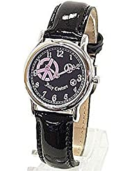 Juicy Couture Princess Womens Watch 1900589 Peace Sign Black Patent Leather Strap