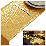 ShinyBeauty Wedding Decor Sequin Table Runner,2pcs Gold-12x72-Inch Party Runner, Table Runner for Party~0719E