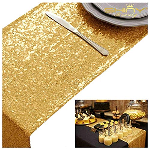 ShinyBeauty Wedding Decor Sequin Table Runner,2pcs Gold-12x72-Inch Party Runner, Table Runner for Party~0719E by ShinyBeauty