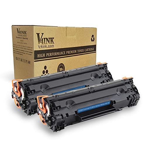 V4INK Compatible Toner Cartridge Replacement for HP CE285A 85A 35A 36A Canon 125 (Black, 2-Pack), for use in HP Laserjet Pro P1102 P1102w P1110 M1212 M1212NF MFP M1217NFW M1132 M1214 Canon MF3010