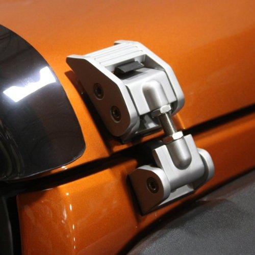 Jeep Wrangler JK Silver Aluminum Hood Catch Set