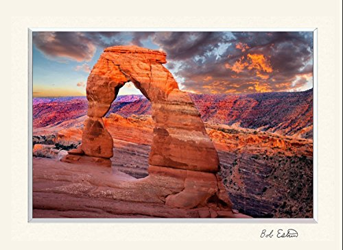 16 x 20 mat including landscape photograph of a very red Delicate Arch at sunset at Arches National Park, Utah. Beautiful photography of a Southwest sandstone rock formation for your art décor needs. Delicate Paper