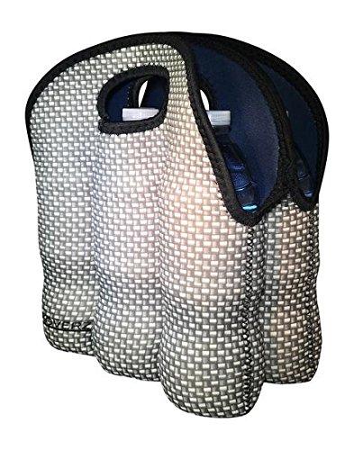Koverz - #1 Neoprene Insulated 6-Pack Carrier, Beer Bottle Carrier, Six-Pack Tote - Carbon Fiber