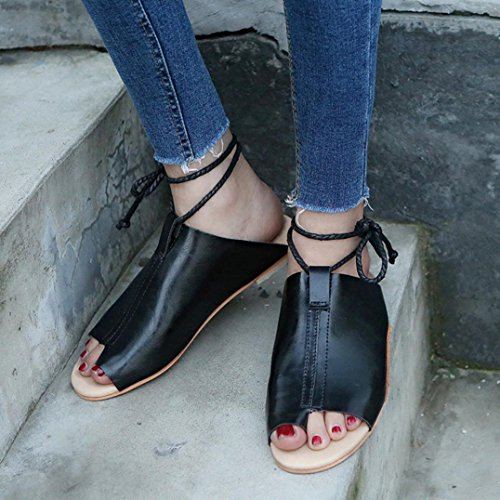 Bovake Summer Women Sandals, Large Size Sandals Flat-bottomed Roman Sandals Open Ankle Flat Straps Platform Wedges Shoes - Bohemia Heels Ladies Ankle Strap Buckle Footwear Flip Flop Sandal Black