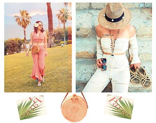 women Rattan Woven Bag Round Shoulder Purse Round Handmade Handbag Rattan Bag Straw for Handwoven Bohemian Crossbody x1UZBwZ