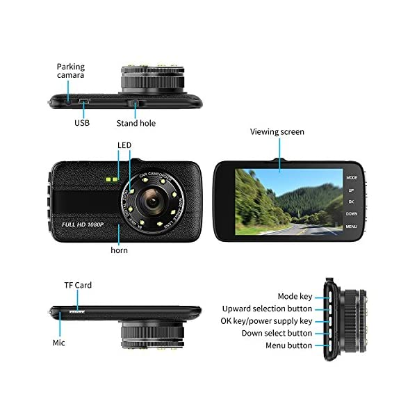 Dash CamCar Dash Camera FULL HD 1080p 170 Wide Angle 4 LCD Dashboard Camera DVR Video Recorder Dual Lens FrontRear With HDR Night VisionLoop RecordingParking ModeG Sensor
