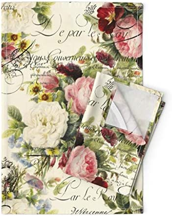 Amazon Com Roostery Tea Towels Vintage Roses Shabby Chic Victorian Romantic French Rose Garden Handwriting Typography Print Linen Cotton Tea Towels Set Of 2 Home Kitchen