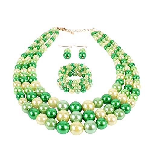 Thkmeet Women's Simulated Faux Three Multi-Strand Pearl Statement Necklace Bracelet and Earrings Set (Green)