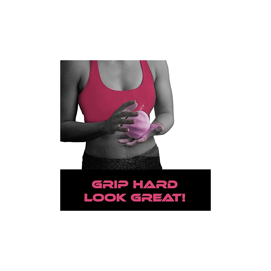 PINK Gym Chalk Ball for Women Climbing Weight Lifting Gymnastics Includes Free Workout EBook with Advanced Lifting Techniques
