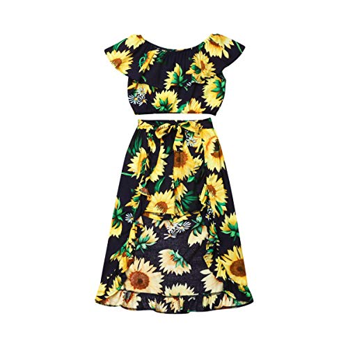 Baby Girls' Sunflower Print Ruffles Off-Shoulder Tops with Shorts Dress Skirts Headband Sets Outfits Clothes (2T, Navy)]()