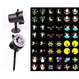 Waterproof Led Projection Light, Animation Effect Led night light, With Wireless Remote Control 12 Pattern Replaceable Slides for Christmas/Party/Landscape/Lawn/Tree/Courtyard/House and Garden Decorat