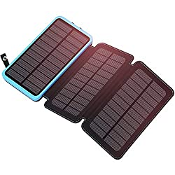 Solar Charger 24000mAh ADDTOP Portable Power Bank with 3 Panels Waterproof Battery Pack for All Smartphones, Tablets and Outdoor Camping