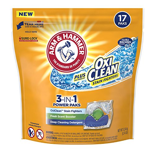 Arm & Hammer Plus Oxiclean 3-in-1 Laundry Detergent Paks, 17 Count