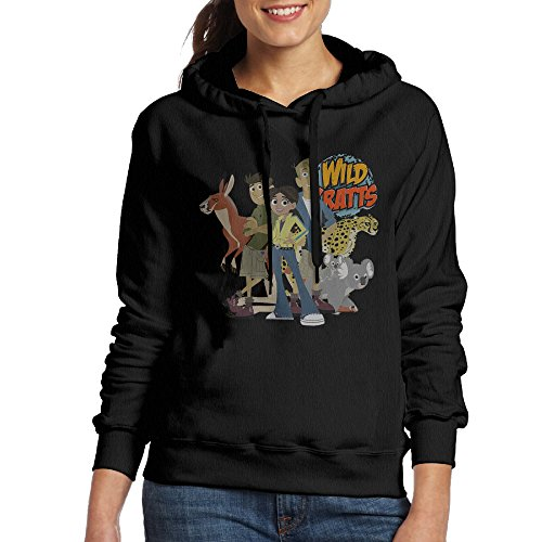[Bekey Women's Wild Kratts Hoodie Jacket L Black] (Lightning Strike Costume)