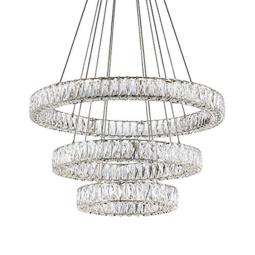 Three Tiered LED Chandelier with Exquisite Diamond Cut Clear Crystals