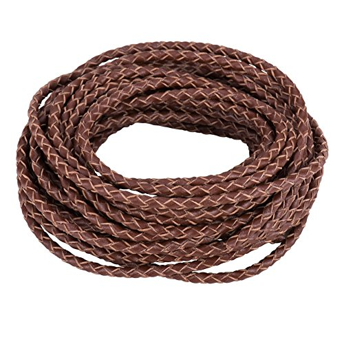 PandaHall Elite 1 Roll 3mm Round Folded Bolo PU Braided Leather Cord Each 5.5 Yard for Necklace Bracelet Jewelry Making Brown