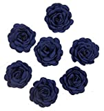 HAND XH-PPH-MG-3.5 Deep Blue Flower Sew On Trims for Clothing and Craft Embellishment - 3 cm Diameter - Pack of 7