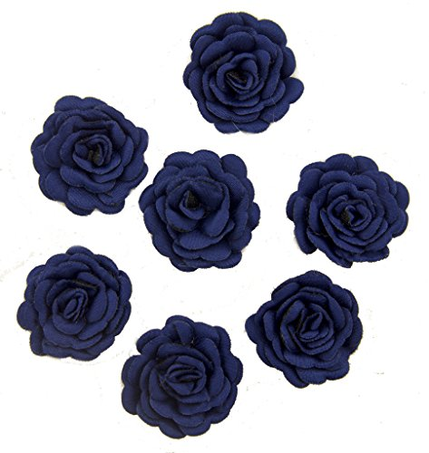HAND XH-PPH-MG-3.5 Deep Blue Flower Sew On Trims for Clothing and Craft Embellishment - 3 cm Diameter - Pack of 7 by HAND