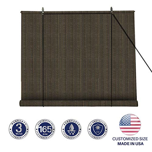 (Windscreen4less Exterior Roller Shade Blinds Outdoor Roll Up Shade with 90% UV Protection Privacy for Deck Back Yard Gazebo Pergola Balcony Patio Porch Carport 5' W x 6' L Brown)