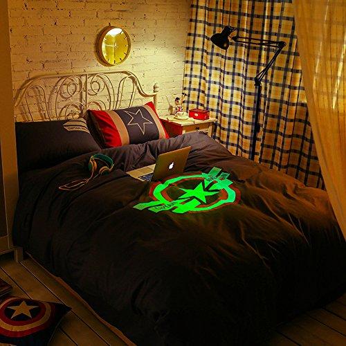 Top Guitar Quilt (Sport Do The Avengers Series Cool Luminous Marvel Cartoon Bedding Sets Top Grade Quality Cotton Home Textiles 4 Pieces Full Navy)
