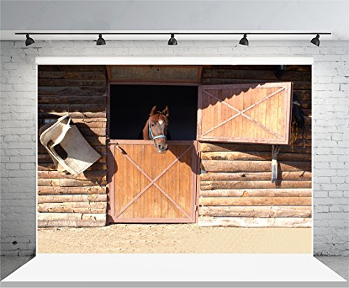 Yeele 5x3ft Barn Horse Photography Background Western Cowboy Theme Vintage Farm Wood Animal Corral Photo Backdrop Herdsmen Portraits Family Party Shoots Video Studio Props]()
