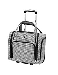 London Fog Cambridge Ultra-Lightweight 15inch 2-Wheel Under The Seat Bag, Black/White Houndstooth